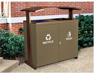 High Capacity Duo Trash Receptacle / Recycler with Canopy