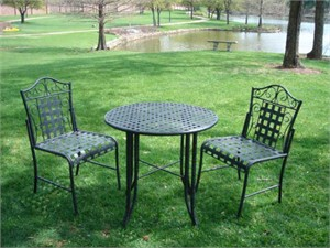 Wrought Iron Bistro Table and Chair Set