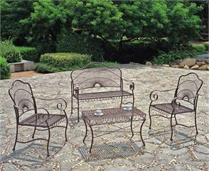 Wrought Iron Coffee Table and Chairs