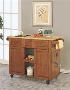 Powell 534-477 Medium Oak 3 Drawer Kitchen Butler