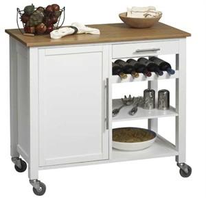 Linon White Kitchen Island 46411WHT-01-KD-U