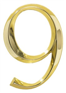 Classic 6 Inch House Number Polished Brass Finish