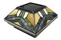 Tiffany Glass Solar Fence Light