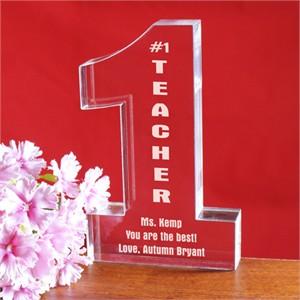 Personalized Number One Teacher Keepsake
