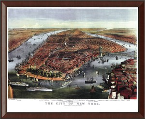 Framed Historic Bird's Eye View Map