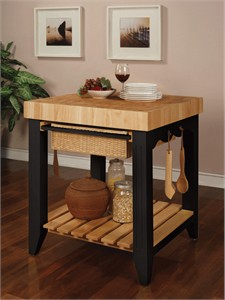 Powell 502-416 Color Story Black Butcher Block Kitchen Island