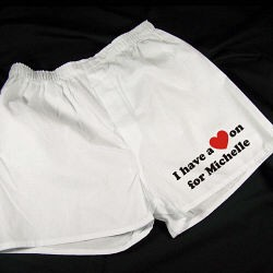 Personalized I Have a Heart On  Men's Boxer Shorts