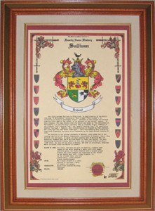Coat of Arms and Family History Framed