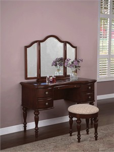 Powell 508-290 Vanity with mirror and upholstered bench
