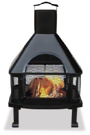 Uniflame WAF1013C Black Outdoor Fireplace