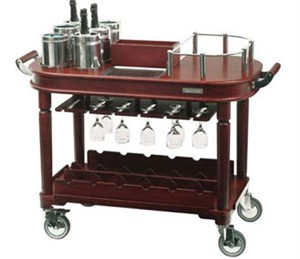Restaurant Style Wine Trolley with 6 bottle coolers