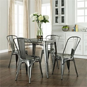 Galvanized Cafe Style Kitchen Table & Chair Set