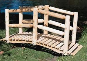 Cedar Log Garden Bridge