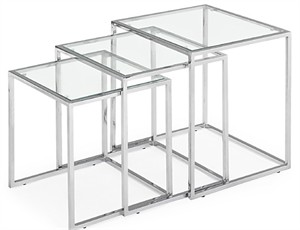 Glass and Steel Nesting Tables