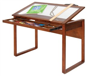 Tilting Glass Top Wood Work Table