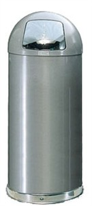 United Receptacle R1536SM Silver Metallic Trash Can