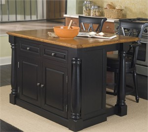 HomeStyles 5008-948 Monarch Kitchen Island with 2 Chairs