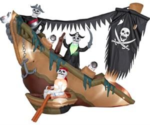 Halloween Inflatable Skeleton Pirates Shipwreck