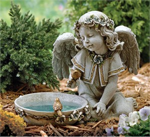 Joseph's Studio 62852 Bird Bath and Seated Angel