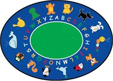 Childs Rug - Abc Animals Oval Small