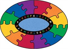 Kids Rug - Abc Puzzle Oval Small
