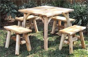 Cedar Log Dining Set