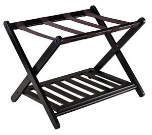 Solid Wood Luggage Rack with Shelf