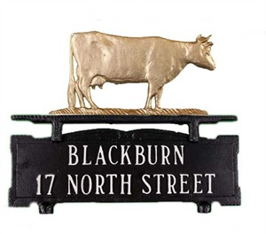 Personalized Mailbox Sign with Cow Ornament