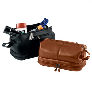 Deluxe Monogrammed Leather Toiletry Bag