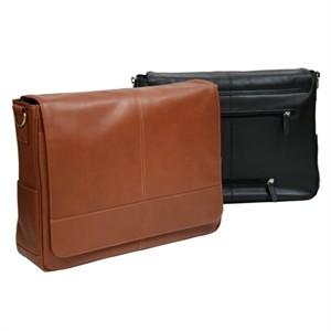 Monogrammed Leather Laptop Messenger Bag