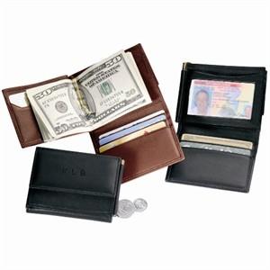 Monogrammed Men's Leather Money Clip Wallet