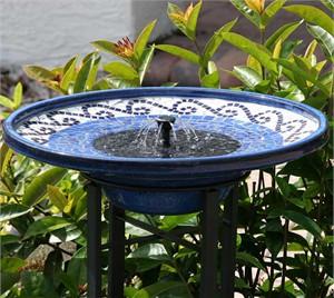 Mosaic Ceramic Solar Birdbath