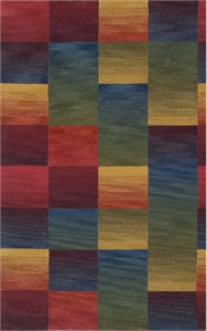 Trans Ocean Ombre Boxes Multi Color Wool Pile Area Rug
