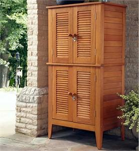 Shorea Wood Four Door Outdoor Armoire