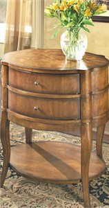 Traditional Oval Side Table with drawers