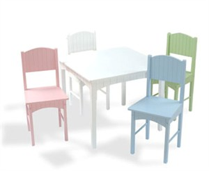 White Play Table & Pastel Chairs