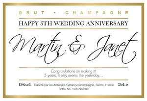 Personalized Wedding Anniversary Champagne Bottle Labels