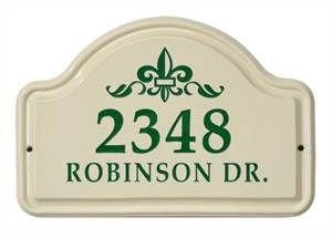 Personalized Fleur De Lis Ceramic Address Plaque