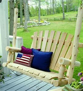 Lakeland Mills Cedar Log Porch Swing