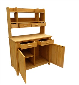Wood Potting Bench with Hutch