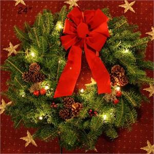 Classic Pre Lit Christmas Wreath