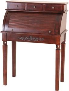 Carved Wood Roll Top Desk
