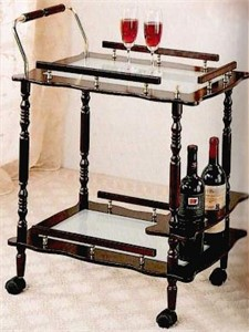 Traditional Cherry Finish Serving Cart with Wine Storage