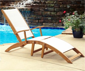 Shorea Wood Outdoor Chaise Lounge Chair