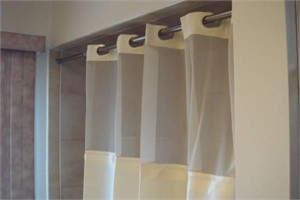 PreHooked Shower Curtain with Clear Top and Snap Liner