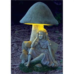 Toadstool Solar Fairy Statue