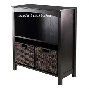 Dark Espresso Storage Shelves with Corn Husk Baskets