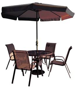 Dark Brown Patio Table & Chair Set