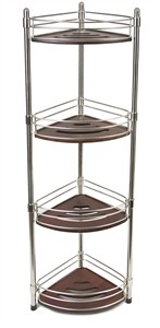 Four Tier Corner Teak and Stainless Steel Spa Tower