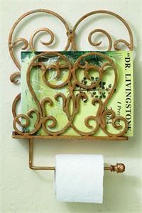Italian Gold Iron Wall Mount Toilet Tissue Rod Magazine Rack